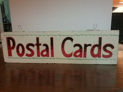 Early 20th Century Wood Folk Art Trade Sign Postal Cards Post Cards