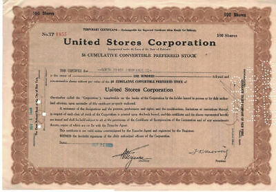 Stock Certificate  United Stores Corp. - RARE preferred shares during 1929 crash