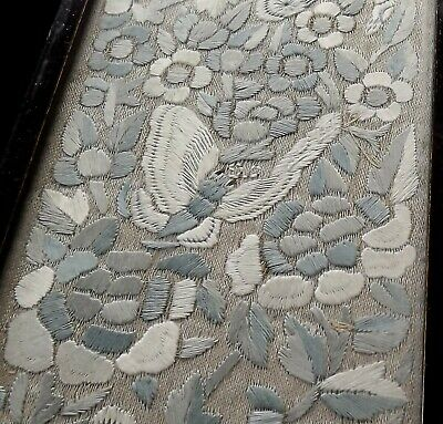 Antique Chinese Embroidery Silk Sleeves / Panels - Butterflies -Framed