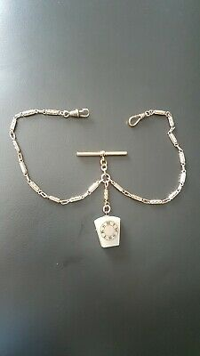 Double albert pocket watch chain with Masonic Fob