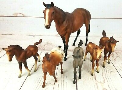"Vintage Molded Plastic Breyer Like Horses 4""-8"" Unmarked Lot of 6"