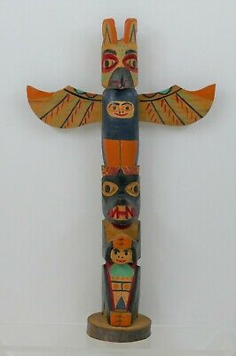 Native American Northwest Hand Carved Totem Pole - Museum Piece - Chilkoot