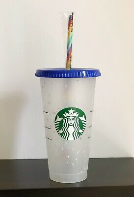 Starbucks Reusable Color Changing Confetti Cup w/ Rainbow Straw Summer 2020