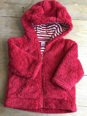 Girls Next Red Fleece Hoody Age 3-6 Months