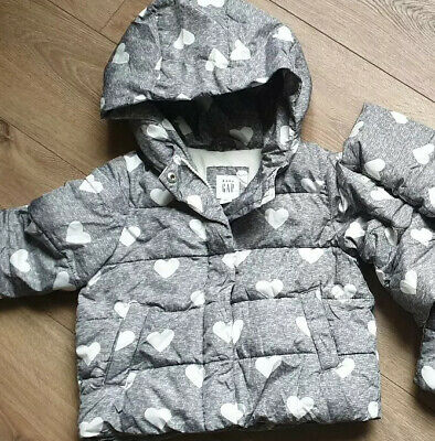 Baby Girls Coat From Gap Age 12-18 Months Immaculate Grey Heart Design