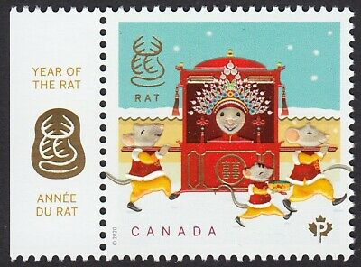2020 = Rat Lunar New Year = Stamp W/ Tab Left = Gold Foil + Embossing Mnh Canada