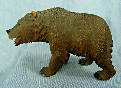 Black Forest Carved Wood Bear with Glass Eyes Lifelike 5 1/4""