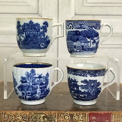 FOUR Early 19th Century English Chinoiserie Coffee Cups.