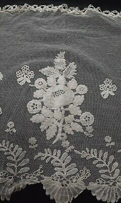 Antique Honiton Applique Lace Length / Shawl / Scarf On Net - 177 Cms Long
