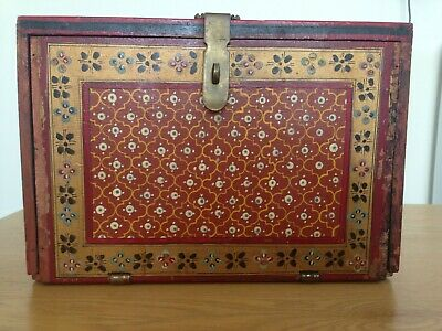 Antique Indian Painted Hardwood Dowry / Jewelry Box With Secret Draw