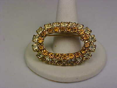 Vintage Goldtone & Pale Yellow/Amber Rhinestone Double Oval Brooch