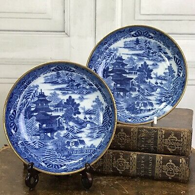 PAIR of Early 19th Century English Porcelain Chinoiserie Saucers.