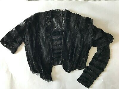 Antique Victorian Bodice, Velvet and Lace, Small
