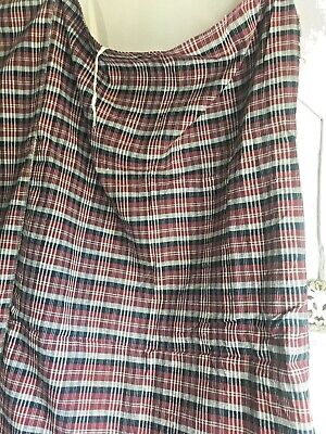 "Antique French Fabric Kelsch Alsace Textile Navy Red & White Checks 62"" square"