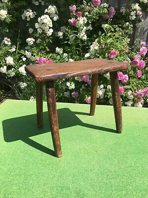 Antique Wooden Milking Joint Stool English Farmhouse Hedgerow Rustic Folk Art