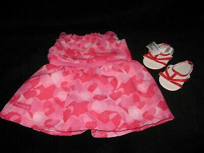American Girl Truly Me Red Hearts Valentine Ruffle Dress With Sandals