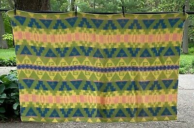 Vintage Yellow Green Blue Indian Camp Blanket