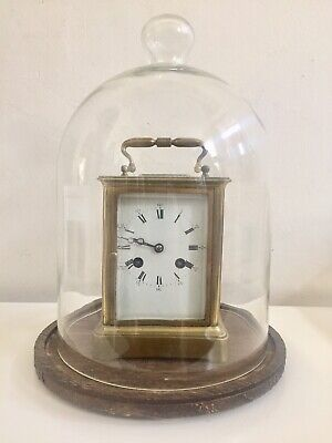 Antique Large Carriage Clock Under Glass Dome By Leroy C1880!