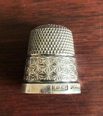 Vintage Sterling Silver Decorated Thimble. NG & Co. Size 15.