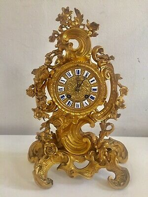 Beautiful Rare French Small Size Antique Ormolu Bronze Rococo Mantle Clock C1880