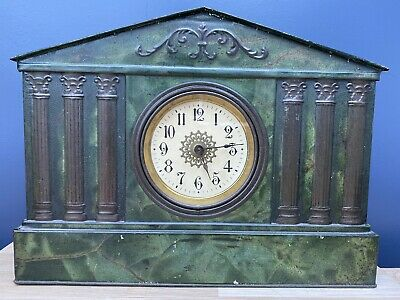 Antique Barringer Wallace & Manners Tole Ware Tin Clock - Registered 1909.