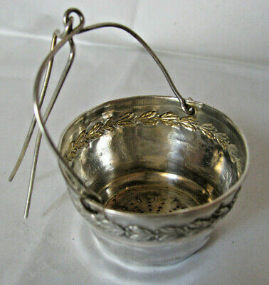 French Silver Tea Strainer  Bucket Shape with Spout Wire