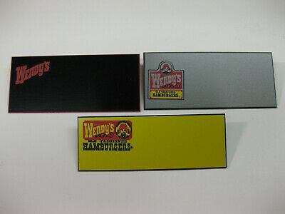 (3) diff. WENDY'S Uniform employee Name badges Tags Vintage logos!