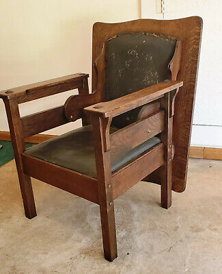 Mission Oak Chair Table