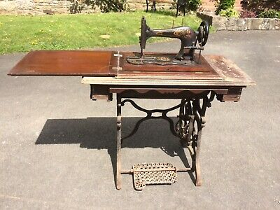 Original Murton and Varley Antique Sewing Machine with Cast Iron Treadle Stand