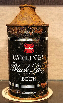 1940s CARLING BLACK LABEL HIGH PROFILE CONE TOP BEER CAN IRTP CLEVELAND OHIO