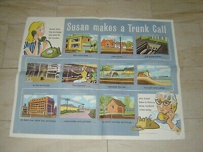 Vintage Original 1960s GPO Susan Makes A Trunk Call Poster Post Office Phone