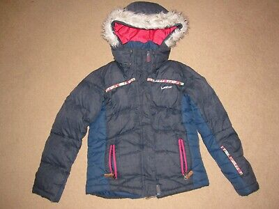Girls Navy/Pink Decathlon Wedze hooded ski jacket / warm coat Age 10