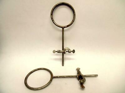 1 Medium Vintage Cast Iron Laboratory Retort Stand Ring With Bosshead Clamp