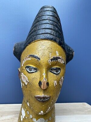 Antique Carved Wooden Head Egyptian