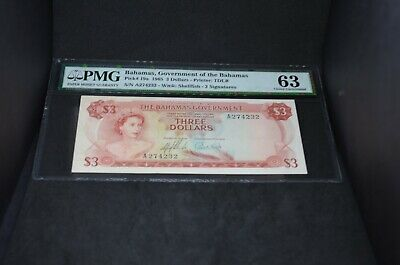 PMG Graded Bahamas, Government of the Bahamas Banknote p19a 1965 $3 UNC