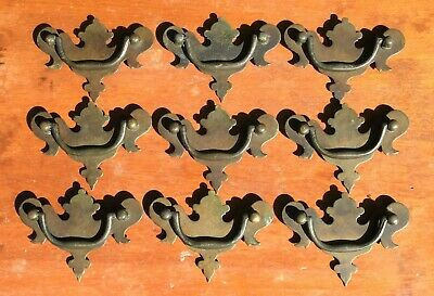 """9 Vintage Solid Brass Batwing Drawer Pulls 2.5"""" on Center Chippendale Style"""