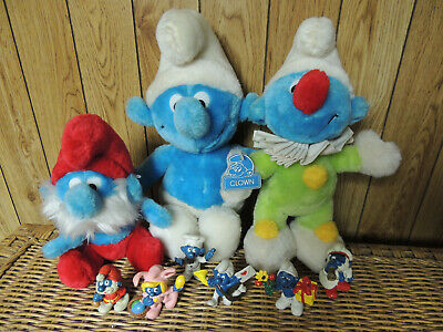 Lot Of 9 Smurf Collection 3 Plush 6 Figures Clown Papa Smurf Figurines Smurfette