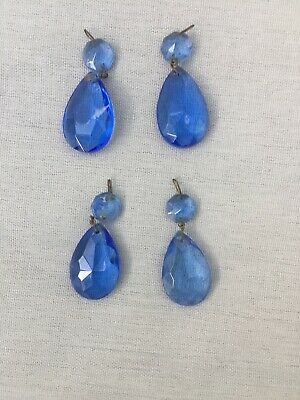 4 Blue Teardrop Chandelier Crystal Pendant Prisms