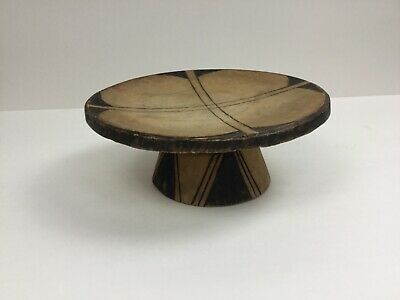 African Antique Wooden Stool Hand-carved Tribal Drum/ Milking Seat Low Design
