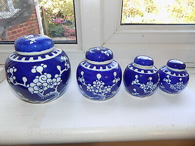 VINTAGE SET of 4 CHINESE PORCELAIN PRUNUS DECORATED BLUE & WHITE GRADUATED JARS