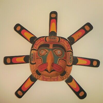 "Northwest Coast Mask ""Sun Ray"" 20"" X 20"" X 5"" Hand Carved Hand Painted Mask"