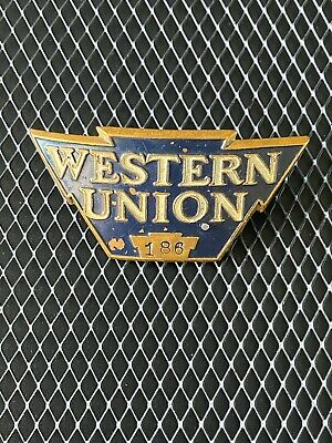 Original Western Union Brass Hat Badge #186 Makers Marks Rys? & Ny 1531