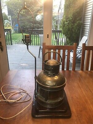 Vintage Port & Starboard Light Copper Lantern Boat Desk Table Wood Base Lamp