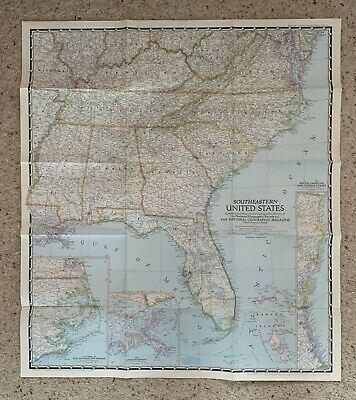 Vintage 65x75cm Appr 1947 National Geographic Map USA SOUTHEASTERN UNITED STATES