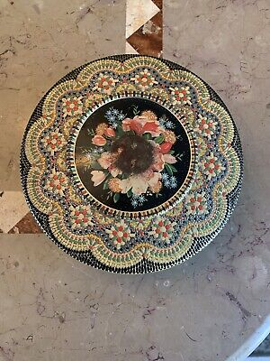 "Vintage Floral Mosaic Tin with Lid ~ Made In Holland ~ Embossed 8"" Round"