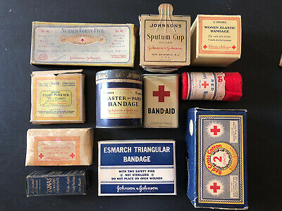 Vintage Johnson & Johnson Lot Of 11 Sputum Cup Band Aids Zonas Red Cross Bandage