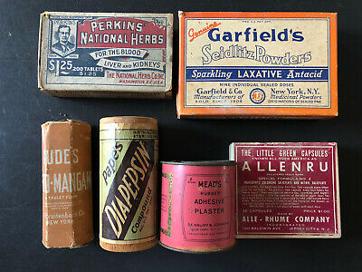 Vintage Medicine Lot Of 6 Mead's Tin Garfield's Perkins Gude's Allenru Pape's