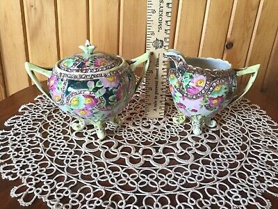 Victorian Era Fancy Footed Porcelain China Creamer and Sugar