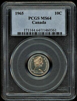 1965 Canada 10 cents PCGS MS64
