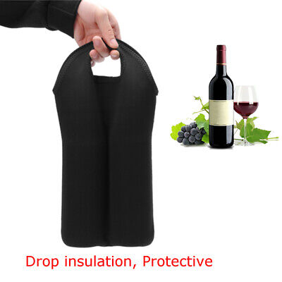 DIY Carry 2 Bottle Wine/ Beer Insulated Bag Tote Carrier Cooler Case Black 1 Pc